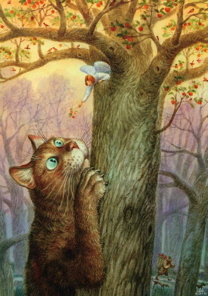 "Illustration by Vladimir Rumyantsev. Russian artist. Series ""St.Petersburg's cats"""