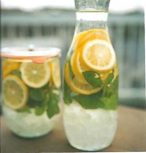 Lemon, mint, ice & water