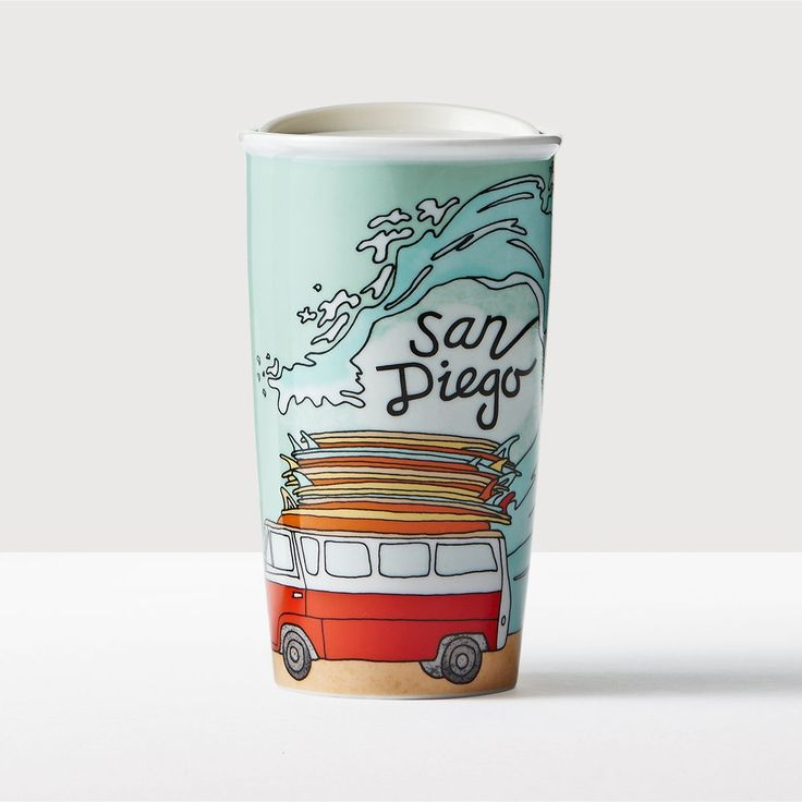 San Diego Double Wall Traveler. A double-walled ceramic mug that depicts San Diego's passion for surfing. Part of the Starbucks® Local Collection.