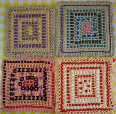 Sewing on binca - sewing examples