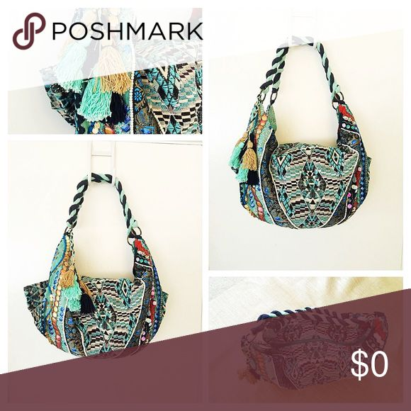 "Oversized Bohemian Style Backpack/Shoulder Bag This will be your go-to bag for just about everything; school, beach and overnight trips - Big & Bohemian - Multi-blue color print - Eye-catchy embellishments - large tassel - Heavy duty - I purchased this from the Lovestitch store and it was the last one - SOLD OUT STYLE - While its never been used, the tag is no longer attached but I left inside pocket - Approximately 21.5"" X 13"" with a 9.5: drop Love Stitch Bags Backpacks"