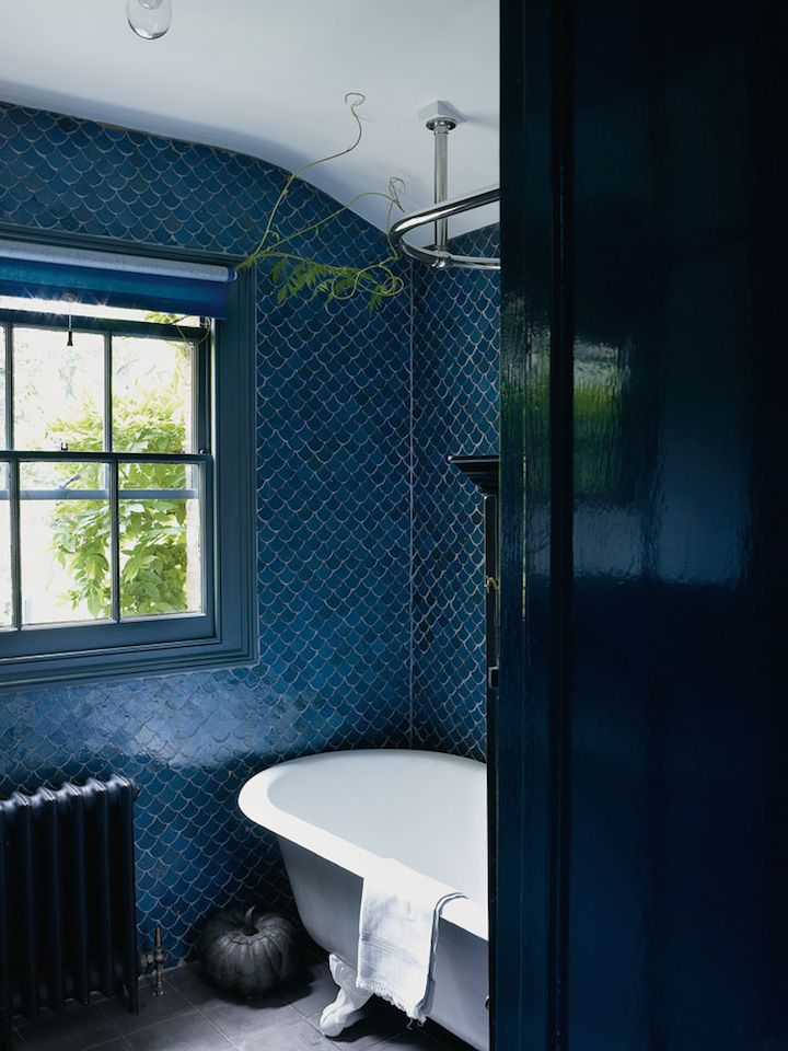 cobalt blue fish tiles + dark ultramarine walls