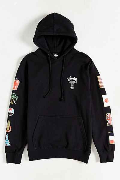 Stussy World Tour Flags Pullover Hoodie Sweatshirt - Urban Outfitters