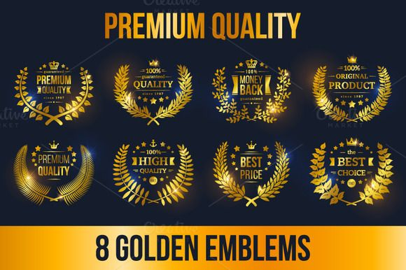8 Golden Laurel Wreath Emblems by kotoffei on Creative Market