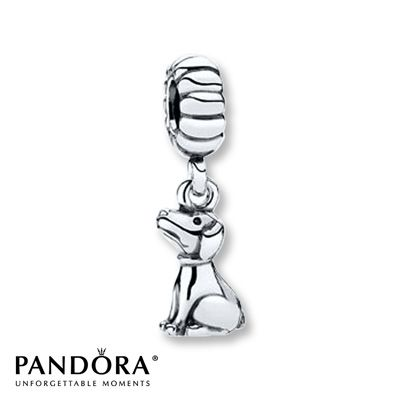This sterling silver dangle charm from the 2013 Moments collection by Pandora features a sitting dog, waiting for his next command. Style # 791095.