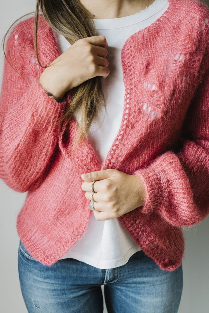 Pattern: silk mohair cropped cardigan for Yarn Day Dhg