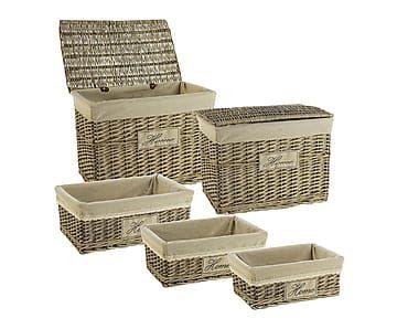 Set de 3 cestas y 2 ba les de mimbre sarah proyecto - Baules de mimbre ...