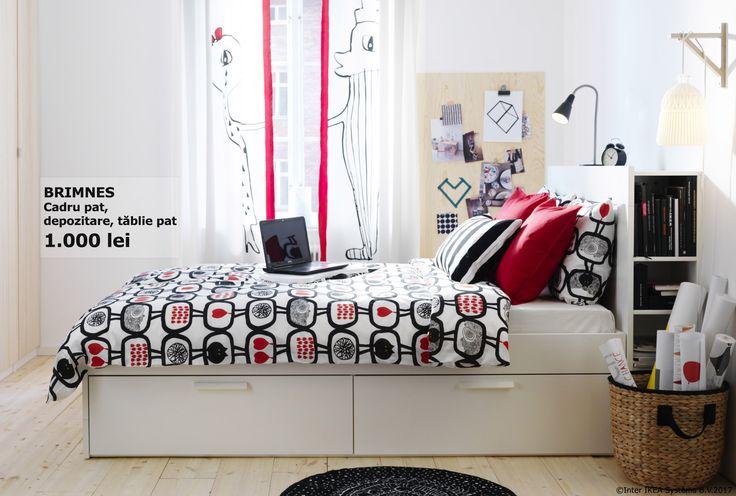 Marginile patului BRIMNES sunt reglabile și îți permit să folosești saltele de diferite grosimi pentru ca somnul tău să fie cât mai odihnitor.