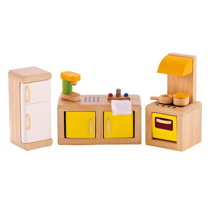 Houten Hape keuken voor in je poppenhuis. Deze 8-delige set bestaat uit een aanrecht met koffiezetapparaat en handdoek, koelkast en een fornuis met oven en 2 pannen. Afmeting: verpakking 20 x 26 x 10 cm - Hape Poppenhuis Keuken