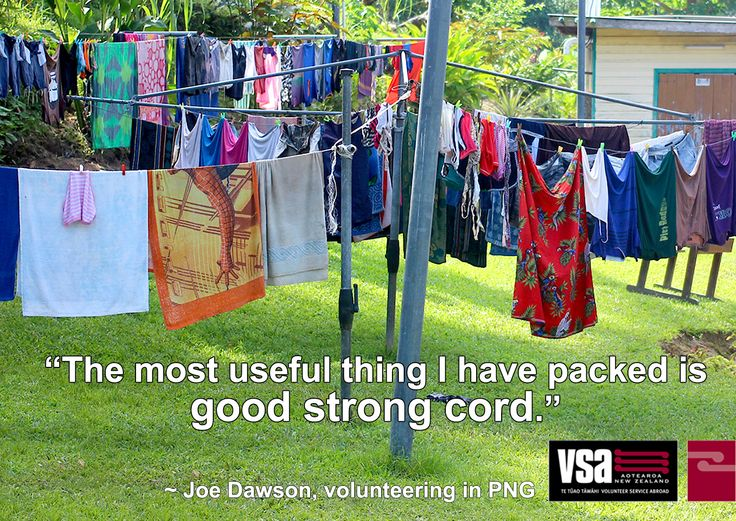 """We asked our volunteers, what's the most useful thing you packed? Joe, volunteering in PNG, says: """"Good strong cord. 3mm Dyneema cord is fine and light and can hold a working load of 700kg. I've used it for fixing all manner of things: broken bags, a broken gutter, I've built a hanging wardrobe with it, built a swing, towed a car, temporarily held together a broken trailer axle, tied up a dog and have even used it as a washing line in a pinch. Awesome stuff. Wouldn't leave home without it."""""""