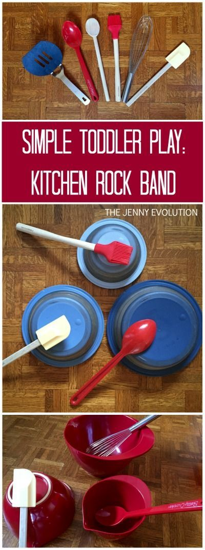 Simple Toddler Play Idea! Kitchen Rock Band. This activity uses fine motor, gross motor and hearing senses!