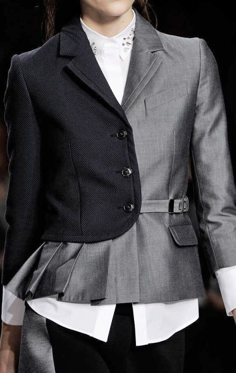 Pleated blazer with contrasting fabrics; creative pattern cutting; fashion details // Viktor & Rolf Spring 2014