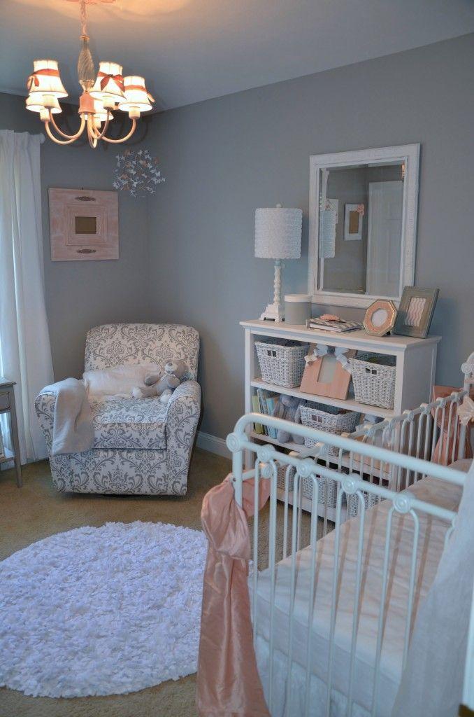 Jaycie S Girly Peach Gray And White Nursery Baby