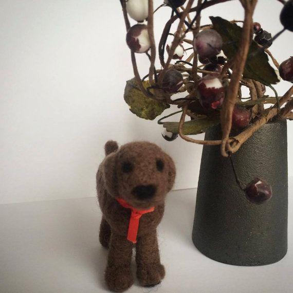 Needlefelted Animal  8x6 cm   Needlefelted Dog  by KubuHandmade