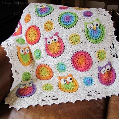 Crochet Owl Afghan ...Pattern by Marken from the Hat
