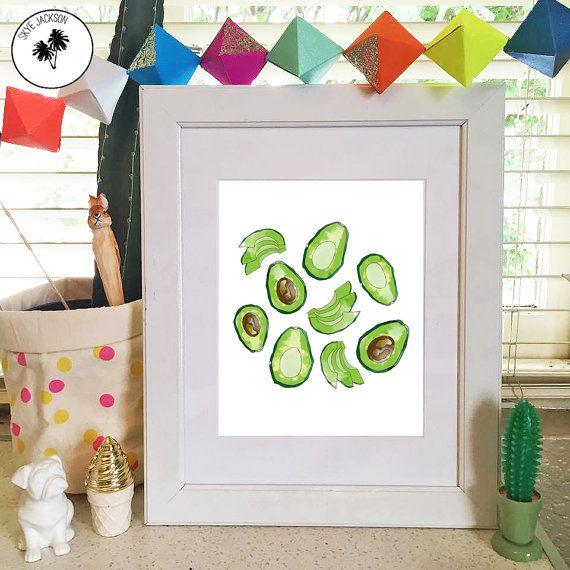 Avocado food illustration original watercolour print by SkyeJack