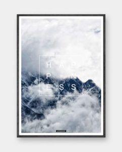 Happiness: Plakaten er et smukt landskabs motiv over bjerge og skyer. Ideel til soveværeslet eller som stor stue plakat. Trykt på 200 gram papir. Se mere på www.kasperbenjamin.com