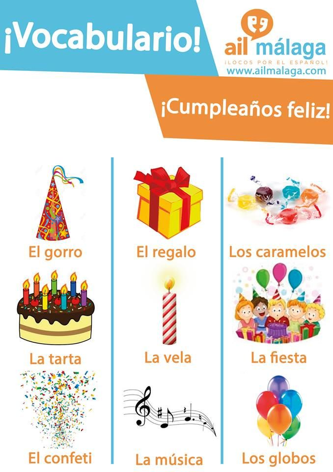 Is it your #birthday or your friend's one? Time to #celebrate!  #LearnSpanish #SpanishSchool #SpanishVocab