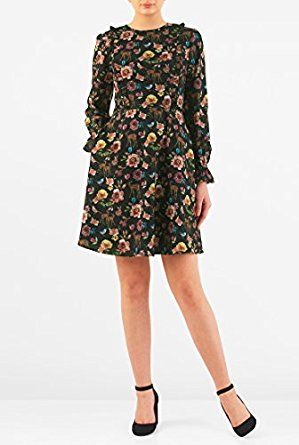 eShakti Women's Woodland print crepe ruffle... by eShakti for $64.95 http://amzn.to/2hAX0fc