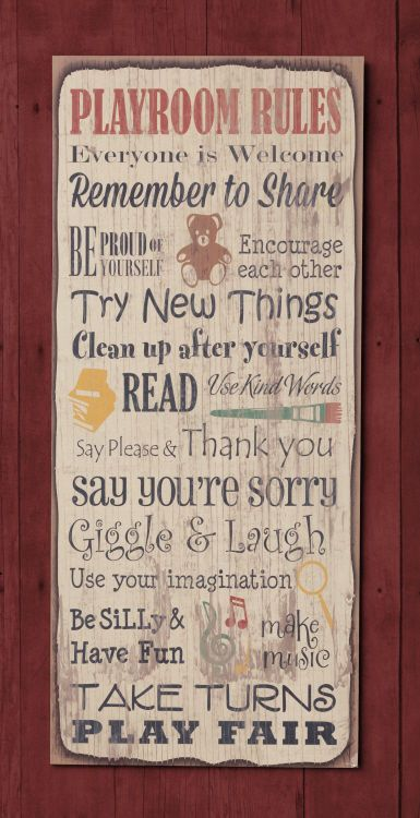 New Primitive LARGE PLAYROOM RULES Share Laugh Nursery Words Plaque Wall Sign #Country