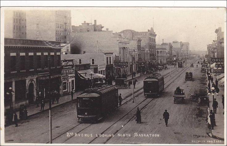 RP: 2nd Avenue , Looking North , Trolly Cars , SASKATOON , Saskatchewan , Canada , PU-1909 Item# SCVIEW242923 (209558574)