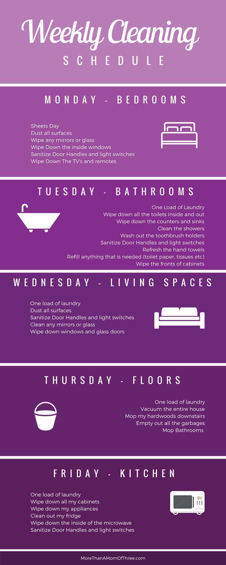 Wöchentlicher Reinigungsplan zum Ausdrucken – #Ausdrucken #make #Reinigungsplan…