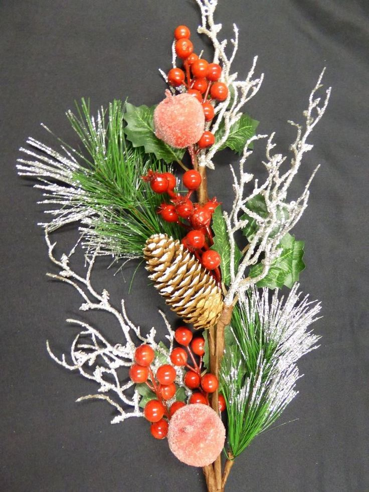 70cm Artificial Berry and Frosted Apple Pine Cone Stem Christmas Decoration #UKGardens