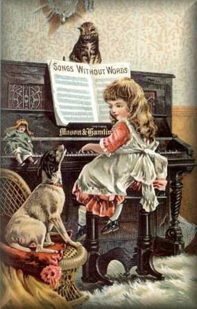 Victorian illustration of a girl at a piano accompanied by a kitten and dog howling to the music