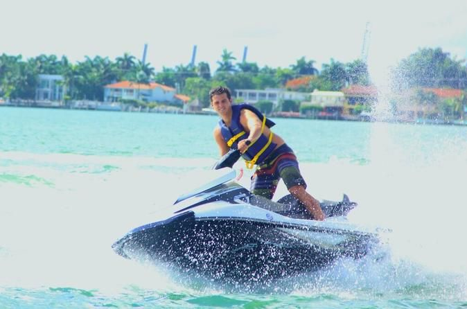 Jet Ski Rental in Biscayne Bay Have a blast on a brand-new Jet Ski! Race around the Biscayne Bay and see Miami from the water with either a 30-minute or 1-hour rental. Have an unforgettable experience on your Jet Ski Rental.Choose between a 30-minute rental or a 1-hour rental and the best time to get in the water. Then, go to Jet Boat Miami, located at 1635 North Bayshore Drive. Lather on some sunscreen, put on your life jacket, and get on your brand-new Yamaha VX Cruiser Je...