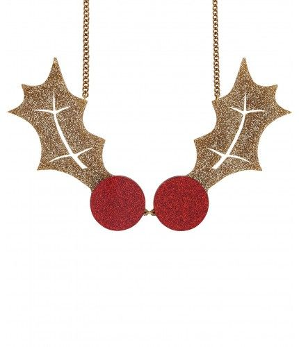 Holly Statement Necklace - Glitter Gold - Deck the halls with the Holly Statement Necklace! Oversized holly leaves are laser cut in glitter gold acrylic and embellished with bright red berries. Layer over sequins and sparkle through the festive season. Exclusive to Tatty Devine.