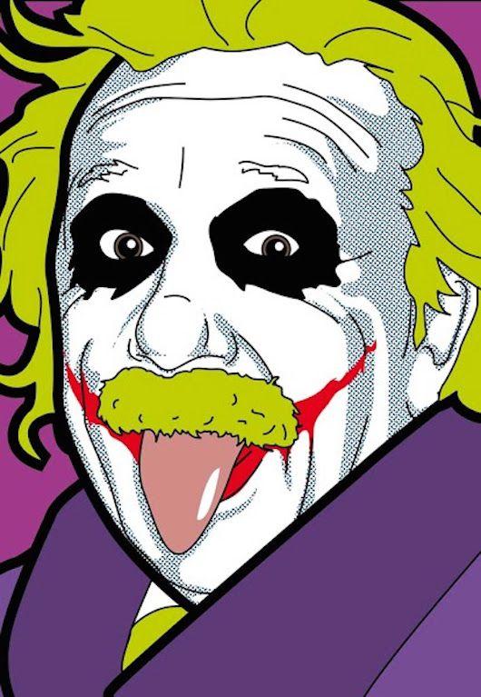 Albert Joke by Greg Guillemin from Secret Life of Super Heroes Series | 35 x 35 Screen print | Pop art, albert Einstein, comic, Joker