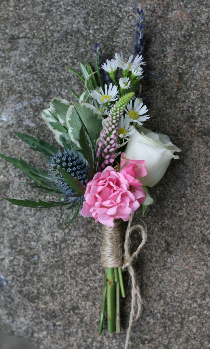 Rustic buttonhole for a July wedding at Wedderburn Castle. Contact The Stockbridge Flower Company, Edinburgh for more details