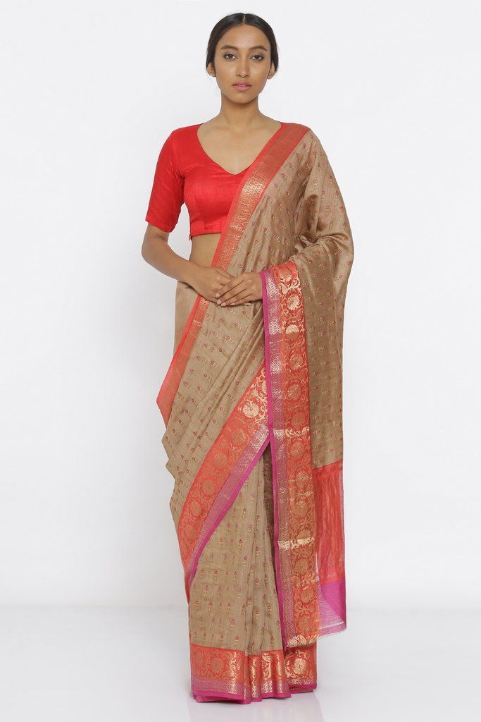 814e4b40fba10c Brown Handloom Pure Tussar Silk Saree with All Over Floral Embroidery and  Intricate Zari Border