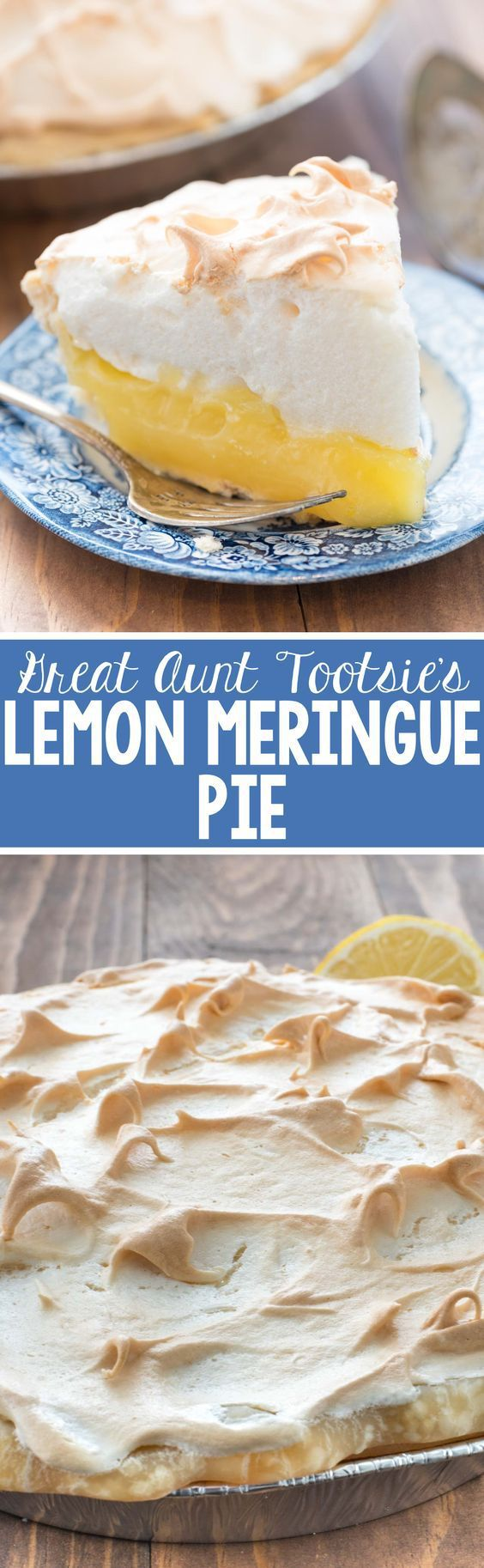 Great Aunt Tootsie's Lemon Meringue Pie Dessert Recipe via Crazy for Crust - this recipe is from my great aunt and it is a family favorite! The lemon is sweet and tart and the pie is perfect lemon lovers! Favorite EASY Pies Recipes - Brunch Dessert No-Bake + Bake Musts