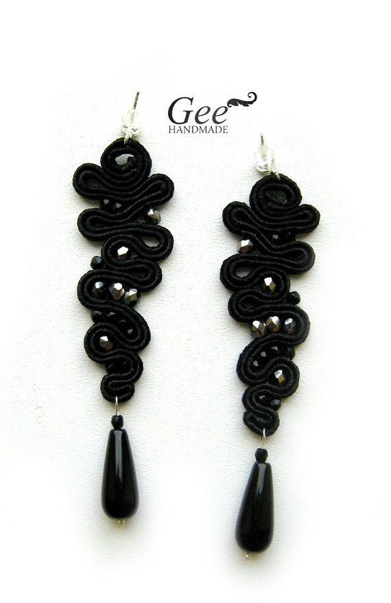 Soutache earrings Black icicle. Collection Black by geehandmade