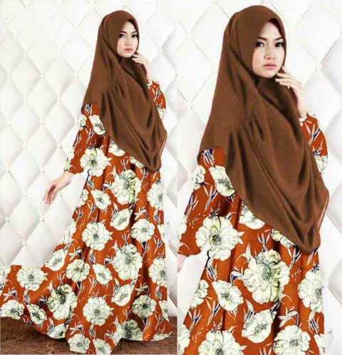 Gamis Syar'i Modern FLOWY ORANGE - http://warongmuslim.com/gamis-syari/gamis-syari-modern-flowy-orange/