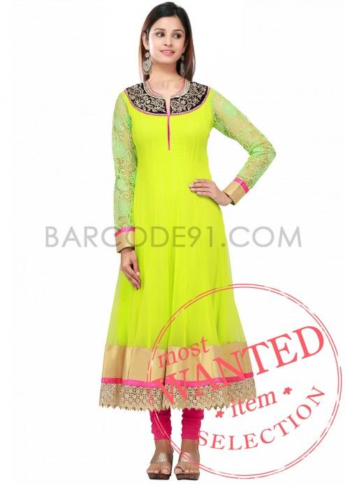 A florescent green anarkali dress with embroidery on velvet at neckline  by B91 Exclusive