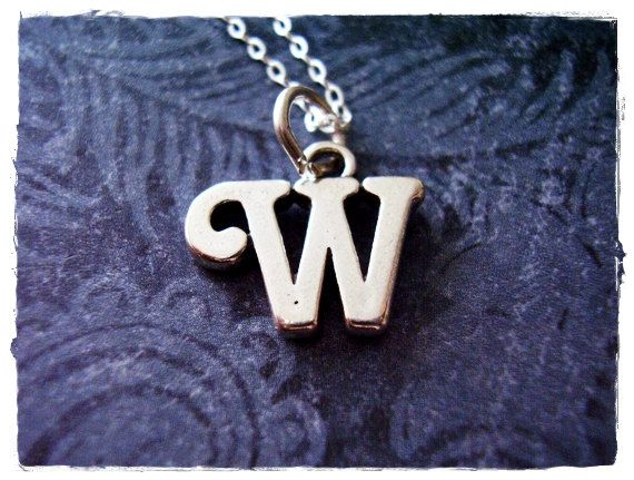 Silver Cursive W Initial Necklace  Sterling Silver Cursive