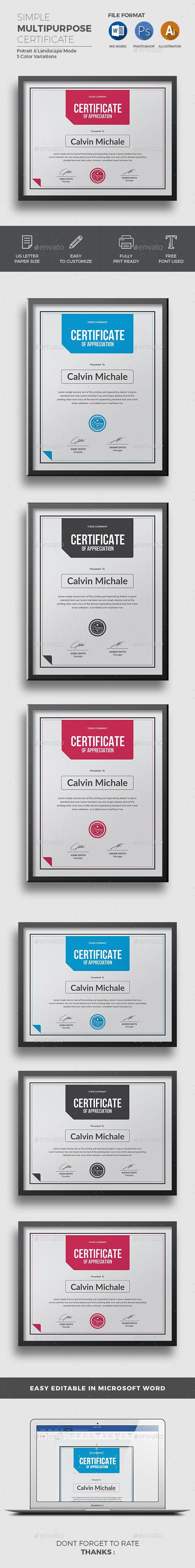 Certificate Templates  Modern Certificate Template PSD, #design Download: https://graphicriver.net/item/certificate/18701876?ref=jpixel55