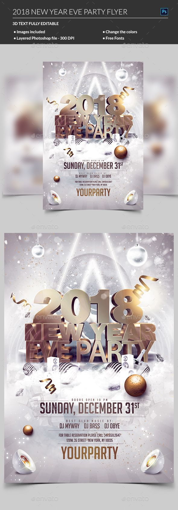 New Year Eve Flyer Template PSD #design #nye2018