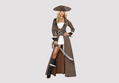 4 Piece Sexy Pirate Captain #Costume Includes Mini Dress, Studded Trench Coat with Attached Rhinestone Belt, Matching Hat, & Sword  #Halloween #Pirate #Musketeer