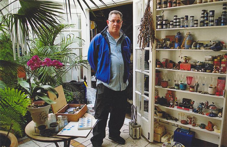 David Margulies in his studio with pigment samples