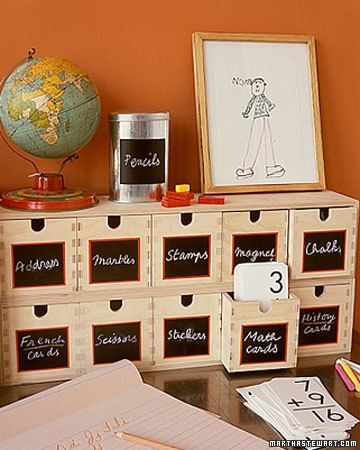 Paint Wooden Bins with Chalkboard Paint or buy chalkboard labels from Martha.