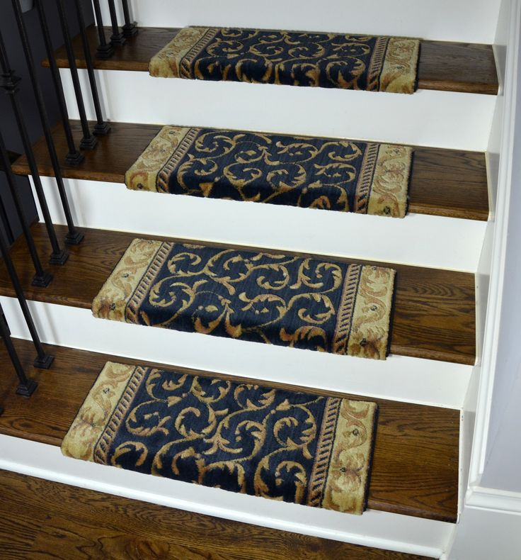 Best Navy Blue Scrollworks Bullnose Carpet Stair Treads 640 x 480