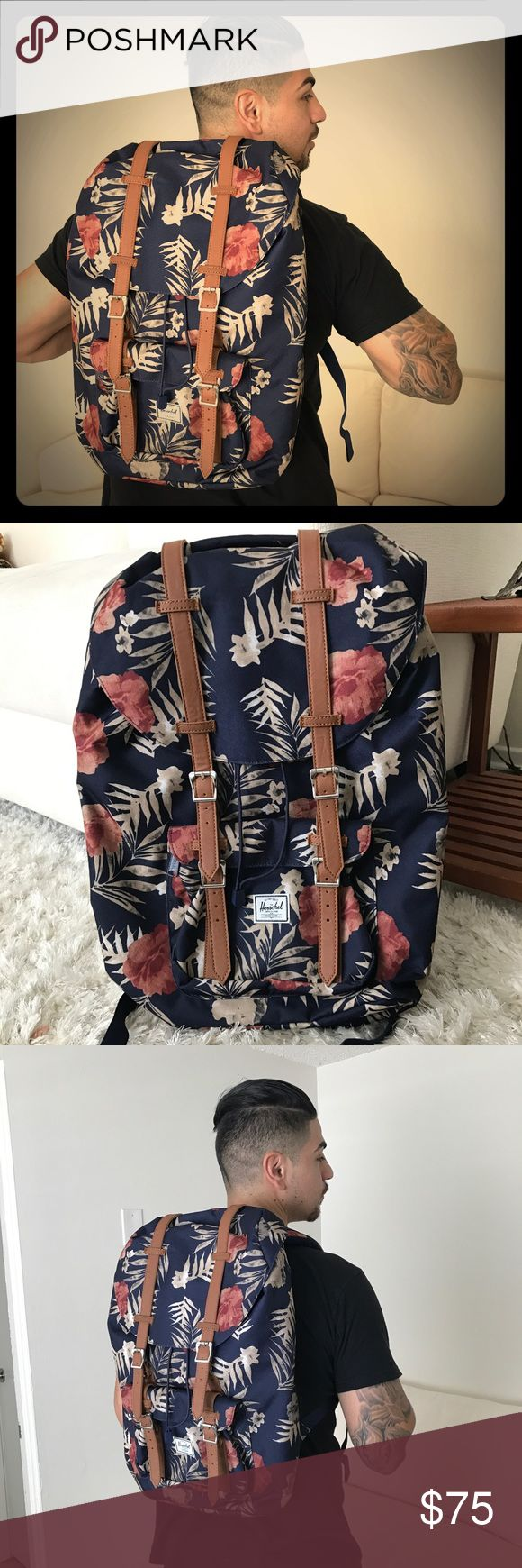 🌺 HERSCHEL 🌺 little America Hawaiian backpack Amazing HERSCHEL LITTLE AMERICA Hawaiian floral backpack NWT!!! Brand new! In perfect condition with one minor exception- button came out of cloth. In picture # 5 and 6 but it's such a minor issue because the other one next to it closes and it closes underneath with a draw string. You can't tell when the other is closed. This was a return from Bloomingdales. Gorgeous backpack that is fully functional and in great condition with exception of…