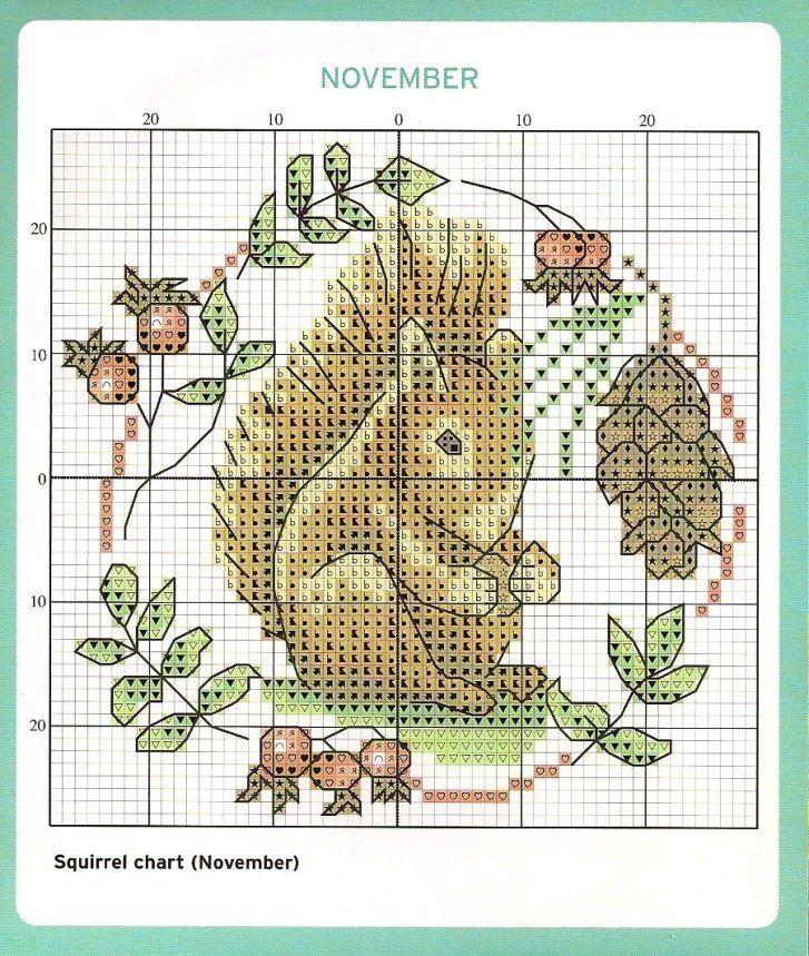 November Cross Stitch Chart squirrel autumn