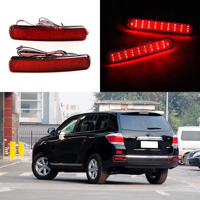 2pcs Led Rear Bumper Reflector Brake Light For Toyota Highlander