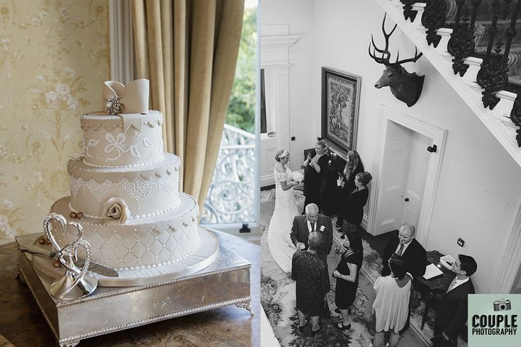 Wedding cake, guests mingle. Weddings at Moyvalley Hotel and Golf Resort Photographed by Couple Photography.