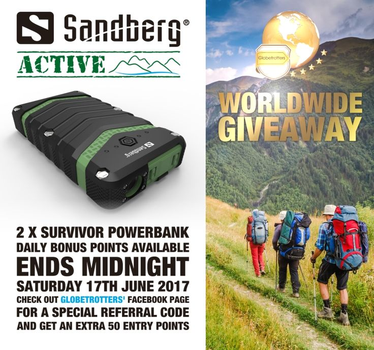 #WIN #GIVEAWAY - @Sandberg ACTIVE WorldWide Giveaway with @Glob3trotter 2x Survivor  PowerBank 2100