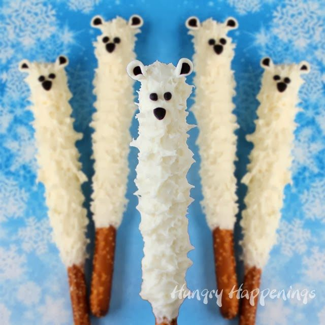 These White Chocolate Polar Bear Pretzel Pops are too cute! (The fur technique is fascinating!)